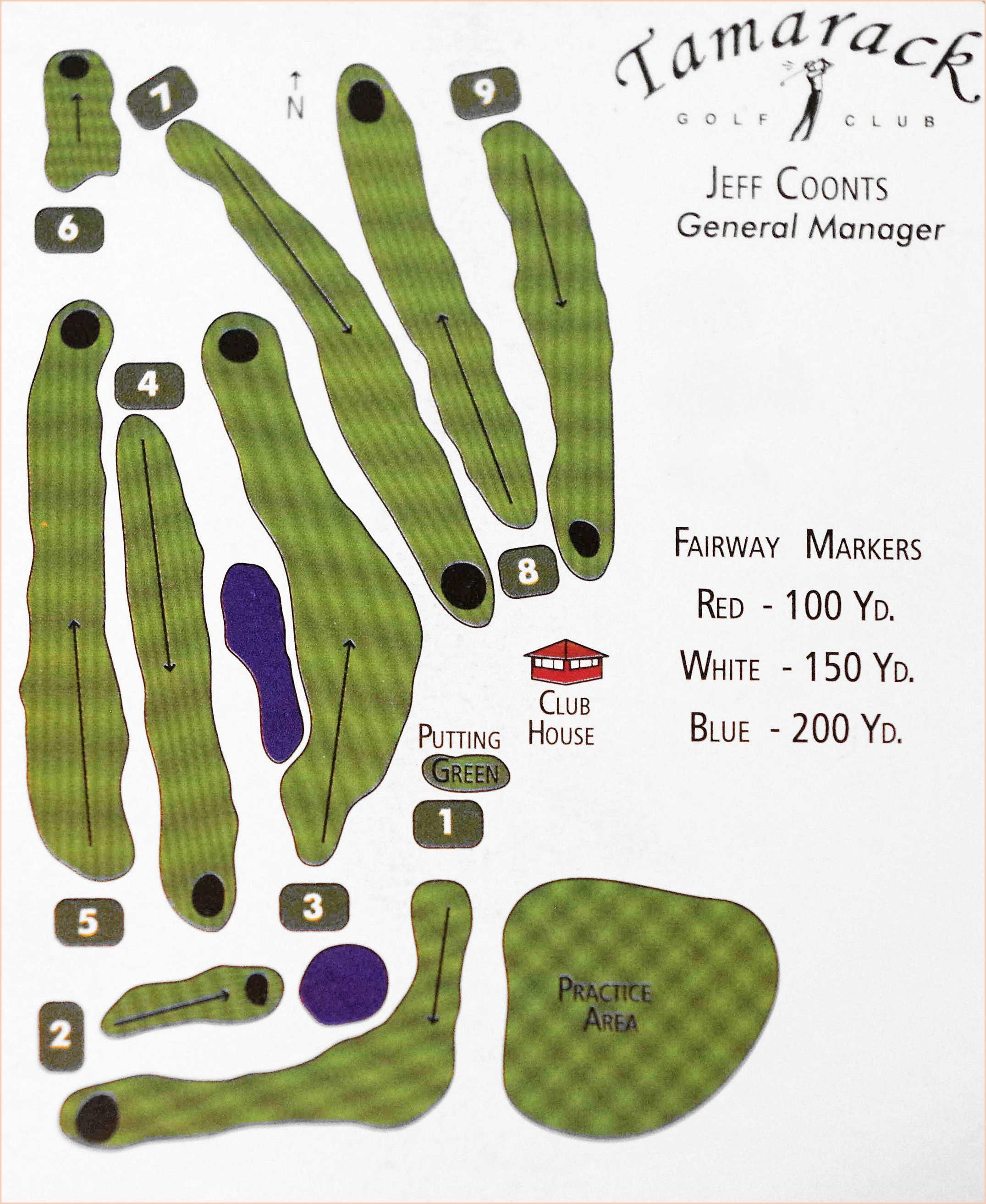 Course layout from Tamarack Golf score card